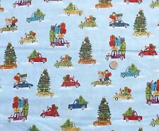 christmas wonderland autos blaustoff fq 50x56 cm 100% baumwolle makower mk1462
