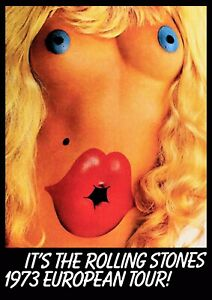 """Reproduction Alternate """"The Rolling Stones - European Tour 1973"""" Poster, Size A2"""