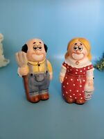 Happy Farmer and Wife Big Smiles Salt and Pepper Shakers