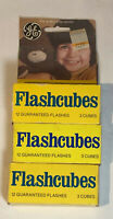 Vintage GE Flashcubes - 3 packs, Set Of 3 Cubes W/ 12 Flashes In Original Boxes