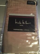Nicole Miller Euro European Pillow Sham Driftwood New Pleats Taupe Beige Tan New