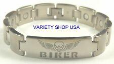 Biker Stainless Steel Magnetic Link  Bracelet Silver 40,000 Gauss SSBIKER-S