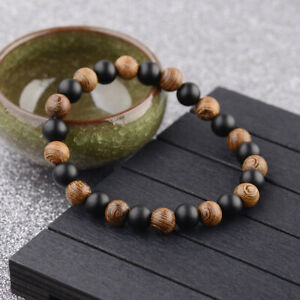 8MM Multilayer Wooden Onyx Beaded Women Men's Charm Bracelet Stretch Jewelry