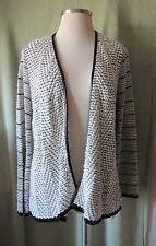 Womens Liz Claiborne Textured Black & White Open Cardigan Sweater NWT $80 XL