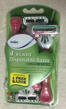 Meijer 4 Blade Disposable Razor for Women, 4 pk, superior comfort & close shave