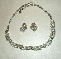 Vintage LISNER Demi Parure Necklace Clip On Earrings Rhinestones Silvertone