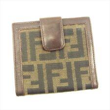 Fendi Wallet Purse Zucca Black Beige Woman unisex Authentic Used T4704