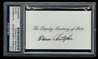 Warren Christopher (d. 2011) signed autograph Deputy Secretary of State card PSA