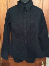 BLACK SHIRT 14 Black Unusual Pleated Shirt Uk 14 Blouse