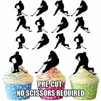 PRECUT Ice Hockey Silhouettes 12 Edible Cupcake Toppers Party Cake Decorations