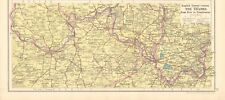 1925 ca MAP - THE THAMES FROM KEW TO PANGBOURNE