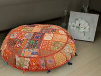 "18"" Indian Vintage Cushion Cover Round Floor Pillow Case Patchwork Handmade"