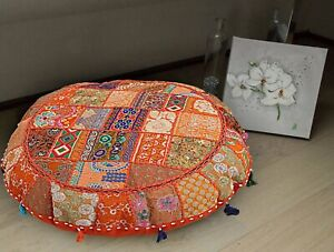 """22"""" Handmade Vintage Round Floor Pillow Cushion Cover Indian Cotton Decorative"""
