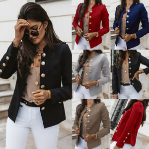 Womens Single Breasted Button Front Military Style Blazer Ladies Formal Jacket