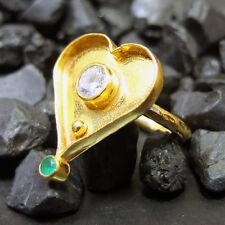 Handmade Hammered Band Designer Heart Topaz Ring 22K Gold over Sterling Silver