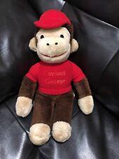"KNICKERBOCKER 14"" Plush CURIOUS GEORGE Monkey RED Shirt Hat Stuffed Animal Vtg"