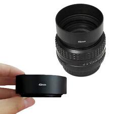 49mm Universal Standard Lens Hood Screw-in Metal Tele for DSLR SLR Camera New
