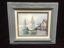 VTG. Mid Century ORIGINAL Signed OIL ON CANVAS French Impressionist Painting