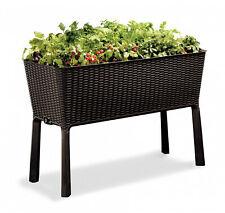 Brown Rattan Elevated Garden Resin All Weather Self-Watering Plastic Planter Bed