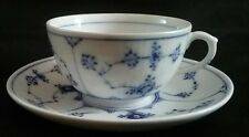 Royal Copenhagen 2162 Blue Fluted Porcelain Tea Cup & Saucer Circa 1969 - 1974