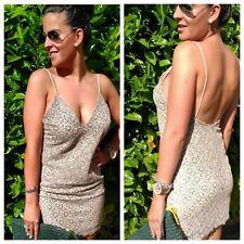 Vestido de encaje Zara Gris Desnudo Delgado Correas de ganchillo Talla M