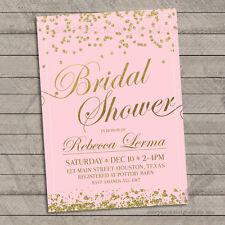 Gold Bridal Shower Invitations /  Elegant Mint or Pink Glitter Confetti