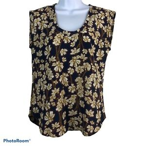 J. Crew Size 2 Small Cap Sleeve Blouse Navy Blue Floral Casual F1057