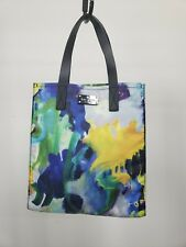 KATE SPADE Blue Green Yellow Abstract Floral Print Leather Trim Tote Bag