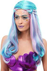 Blue and Pink Mermaid Rainbow Pearls Women Adult Halloween Wig Costume Accessory