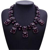 Lila Glas Strass schwarz Glamour gothic Design Kette Halskette Collier neu