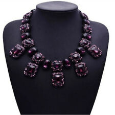 Lila schwarz Glas Strass Kette Statementkette Halskette Collier Modeschmuck neu