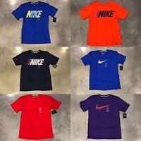 Nike Graphic Tee Block Swoosh Lined T-Shirt Blue Red Orange Men's SZ S M L XL