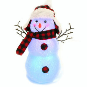 """Color Changing 12"""" Illuminated Lumberjack Snowman Figurine, Battery Operated"""