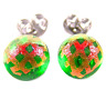 """Tiny DICHROIC Post EARRINGS Green Clear Orange Dicro Fused GLASS STUDS 1/4"""" 8mm"""