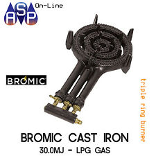 Bromic Burner Triple Ring Propane LPG Gas Fuel Camping BBQ Cast-iron RB 40 RB40