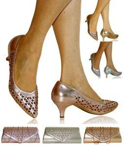 Womens Ladies Wedding Bridal Low Kitten Heel Diamante Party Court Shoes 644