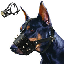 Spiked Studded Dog Muzzle Leather No Biting Adjustable for Large Breeds Pitbull