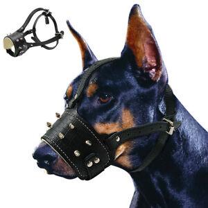 Spiked Studded Dog Muzzle Leather No Biting Adjustable for Large Breeds Pitbull