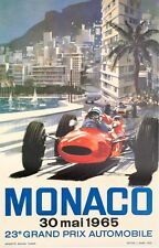 Monaco Grand Prix 1965 poster on linen VINTAGE FRENCH RACE POSTER