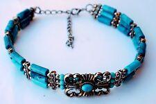 Fashion Jewelry Women Blue Turquoise Beads  Silver Choker Necklace