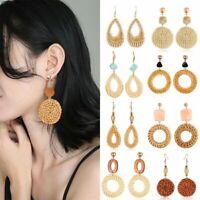 Women Straw Rattan Woven Wooden Earrings Geometric Dangle Ear Stud Jewelry Gift