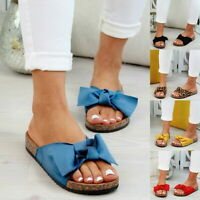 Womens Summer Flats Slides Bow Knot Comfort Beach Slippers Shoes Slip On Sandals