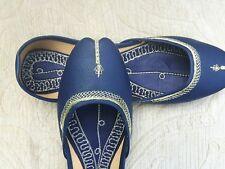 Azul señoras de cuero Indio Boda Khussa zapatos talla 5