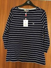 Brand New Ladies Crew Clothing Striped Navy Top - Size 14