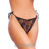 Sexy Lace Tie Side Thong Knickers Size 10/12/14 NEW