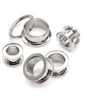PAIR (2) Basic Stainless Steel Screw-Fit EAR TUNNELS PLUGS Piercing Gauges