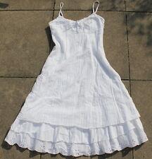 Esprit  Maxi Sommer Träger-Kleid weiß   36  Loch-stickerei  top