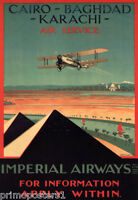 EGYPT PYRAMIDS AIR TRAVEL AIRPLANE CAIRO BAGHDAD TRAVEL VINTAGE POSTER REPRO