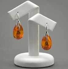 925 Silver Earrings made with Swarovski Crystals 22mm PEAR  - Topaz AB