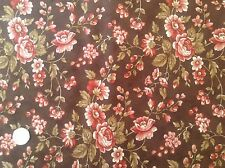 Moda Comfort Brown Floral Cotton Quilting Fabric FQ 50cm x 54cm